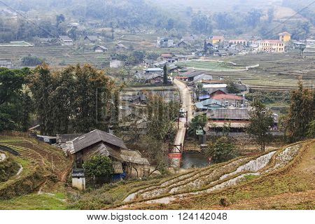 Sapa, Vietnam - February 17, 2016: Village of Lao Cai near Sapa in north Vietnam. Sapa is famous for the rice terraces