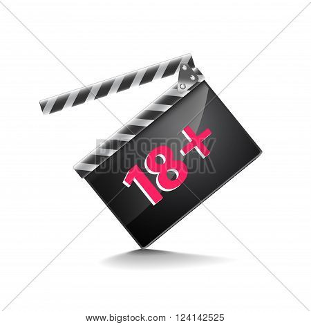 Clapper board adults only isolated on white photo-realistic vector illustration