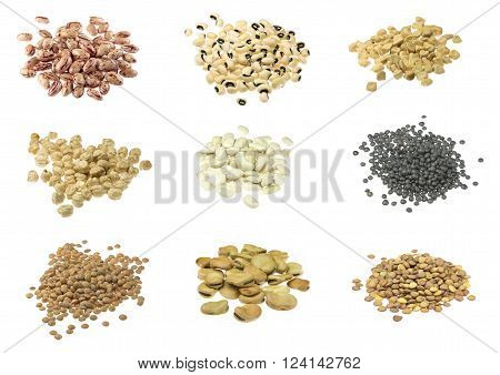 Beans lentils indian pea broad beans chickpeas collections on white background