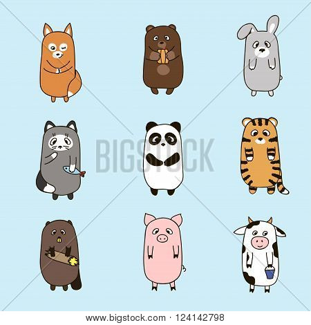 Funny animalson blue background.Freehand drawing. Vector illustration