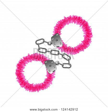 Pink handcuffs isolated on white photo-realistic vector illustration