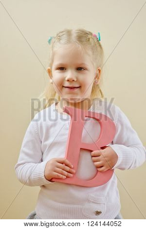 Toddler Girl  With Letter