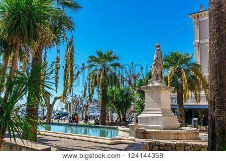 Cannes, France, - March 1, 2016: Port Le Vieux of Cannes Promenade de la Croisette Cannes France Cote d'Azur