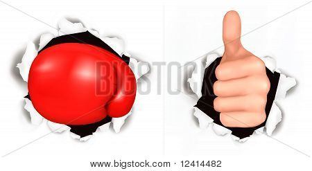 Conceptual illustration of thumb up