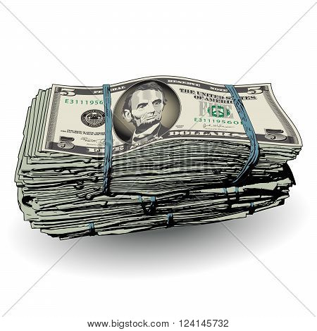 A fat stack of 5 dollar bills with space for text