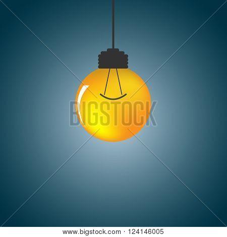 Orange light bulb - vector illustration. Light bulb - abstract background. Abstract background with light bulb. One bright light bulb on a dark background.