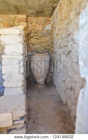 jars in the Minoan palace Festos (Crete, Greece)