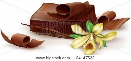 Chocolate block and curl with vanilla flower on white background. Vector illustration