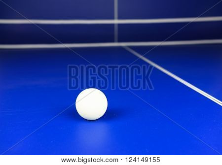White Table Tennis Ball on a Blue Table with White Net