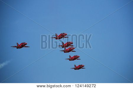 IZMIR/TURKEY-JUNE 5, 2011: Royal Air Force-RAF Red Arrows Aerobatic Team's Hawk at 2nd Main Jet Base-Cigli for Airshow. June 5, 2011-Izmir/Turkey