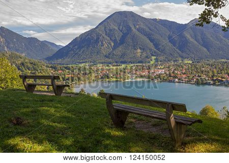 lookout point with benches view to rottach-egern and wallberg bavaria