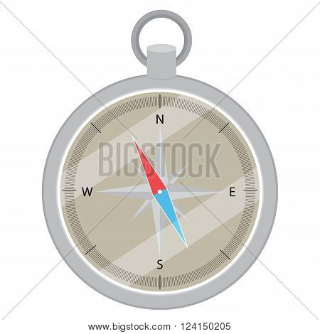 Device compass flat design. Compass icon navigation direction and compass map compass vector and direction orientation east and south north and west. Vector flat design illustration
