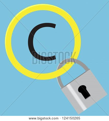 Protection sign copyright with hang steel padlock. Intellectual property and trademark copyright symbol and patent copyright law and piracy protection padlock. Vector flat design illustration