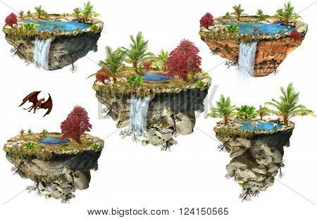 Set of different fantasy flying mountains island with a lake and trees