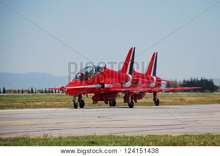IZMIR/TURKEY-JUNE 5, 2011: Royal Air Force-RAF Red Arrows Aerobatic Team's Hawks at 2nd Main Jet Base-Cigli for Airshow. June 5, 2011-Izmir/Turkey