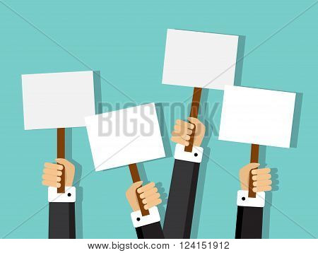 group of businessmen holding different signs with space for text