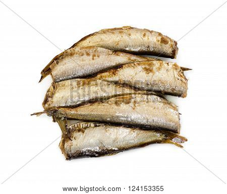 Smoked Sprats Fish Isolated On White Background.