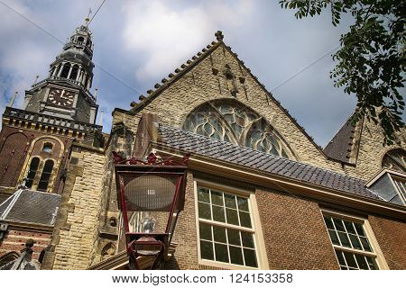 View of Oude Kerk (Old Church) Amsterdam Netherlands