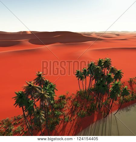 3D illustration of Palm trees near oasis