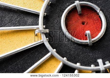 Close up bullseye target on dartboard Shallow depth of field