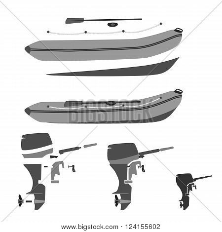 rubber boat and motor disassembled and whole. totally vector illustration