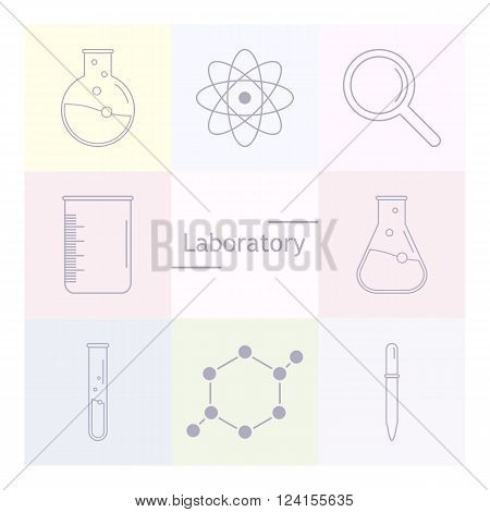 Set of science icons. Chemical tools and utensils. Laboratory equipment. Chemical test tubes icons. Research and science. Vector Illustration graphic elements for design.