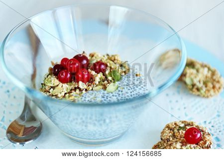 Soaked chia seeds with cereal biscuits
