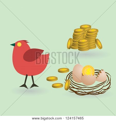 bird lay coins from eggs on the nest business launching concept vector illustration