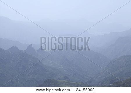 Gran Canaria, Calima Over Caldera De Tejeda