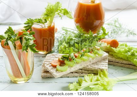 Plain Rye Cakes, Galette Rye With Fresh Carrots, Celery And Parsley Around Fresh Carrot Juice, Fresh