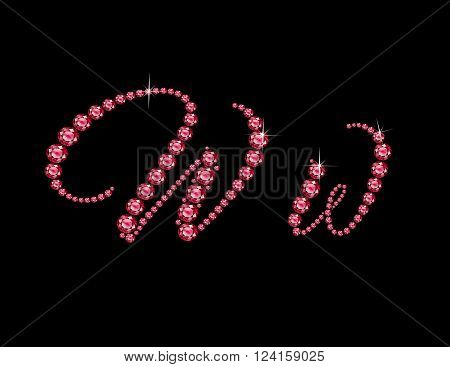 Ww in stunning Ruby Script precious round jewels isolated on black.
