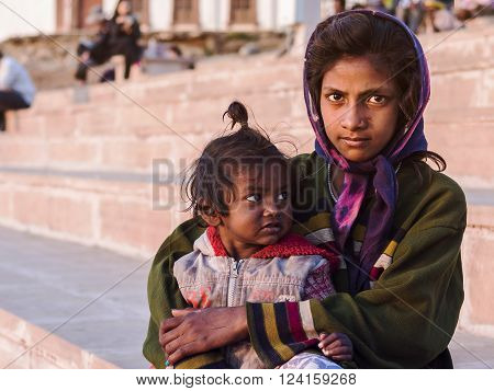 Pushkar, India - January 23, 2013: Unidentified poor street children of Indian ethnicity in Pushkar, Rajasthan, India.