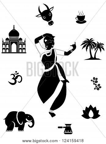 set with a beautiful girl and objects on the theme of India.