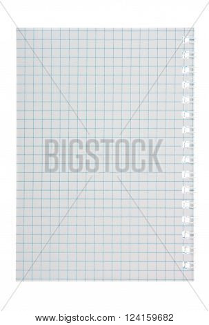 Notepad, sheet in a cage on a white background ** Note: Soft Focus at 100%, best at smaller sizes