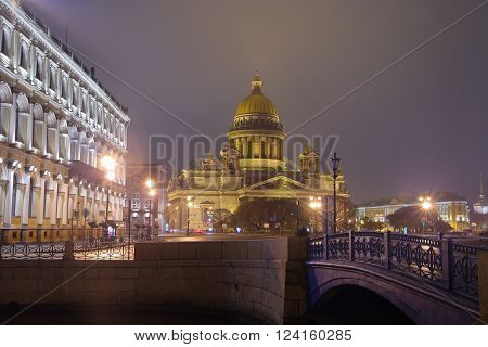 St.Petersburg St. Isaac's Square St. Isaac's cathedral Blue Bridge across the river the Moika evening
