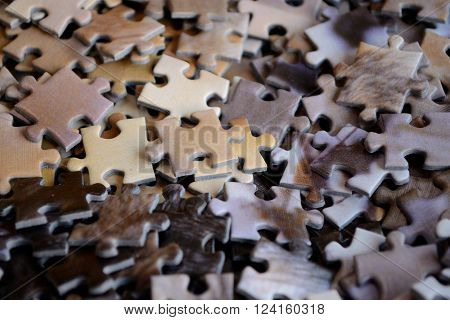 no sorted puzzle pieces - Focus many separate parts