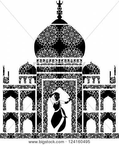 illustration of a pretty girl who dances on the background of the Taj Mahal.