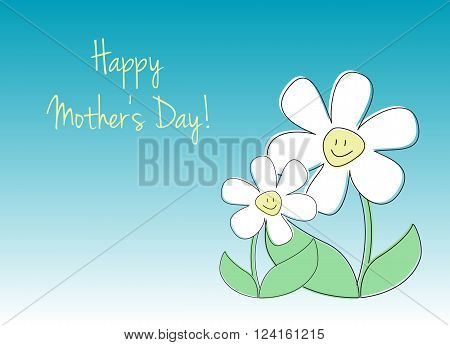 Card with text and flowers in role of mom and child vector