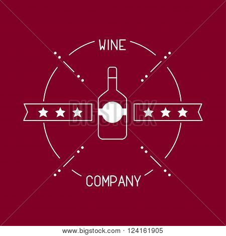 This is perfect thin linear illustration of wine shop identity topic.