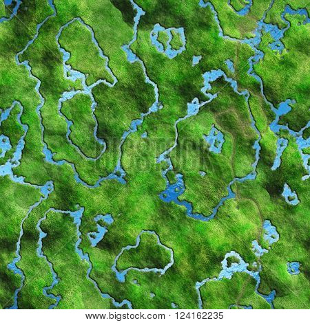 Seamless Texture land and river. Abstract map top view