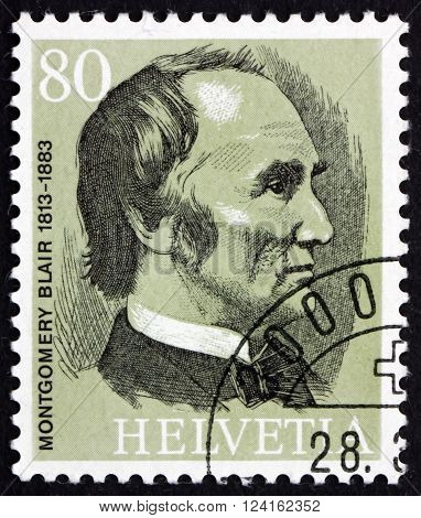 SWITZERLAND - CIRCA 1974: a stamp printed in the Switzerland shows Montgomery Blair the Founder of the UPU circa 1974
