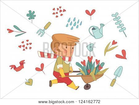 Love Gardening, cartoon vector illustration - a gardener wearing gloves and yellow rubber boots wheeling a bunch of flowers in a barrow, surrounded by garden elements in heart shape, Dodo people set
