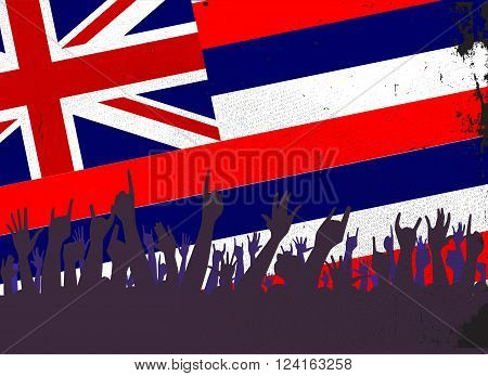 Audience happy reaction with Hawaii State flag background