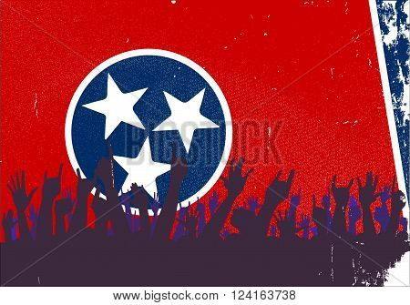 Audience happy reaction with Tennessee State flag background