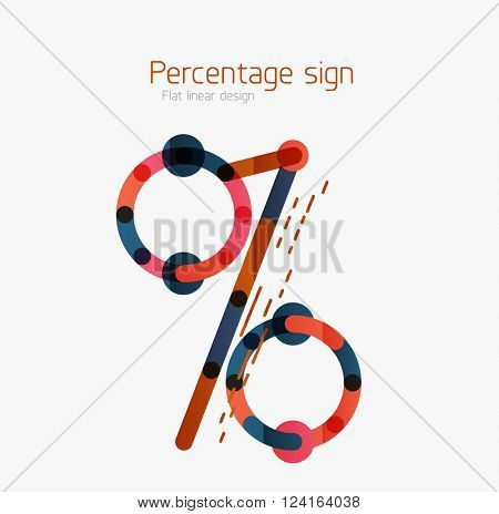 Percentage sign background. Linear outline style made of overlapping multicolored line elements
