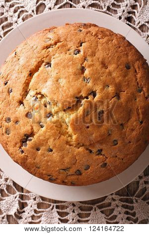 Freshly Baked Biscuit Cake With Chocolate Chips Macro. Vertical Top View