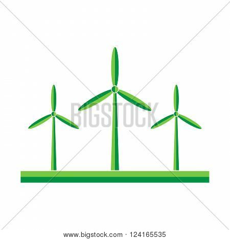 Wind turbines in the field - vector illustration. Green wind turbine generators in flat design.