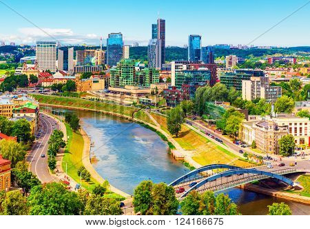 Scenic summer aerial view of modern business financial district architecture buildings and Old Town in Vilnius, Lithuania