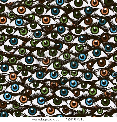 Abstract pattern made up of a female eye with pupils of different colors
