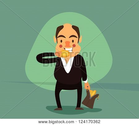 smiling businessman in a tuxedo and with a bag full of gold coins on a tooth trying gold coin.Vector illustrations. EPS 10